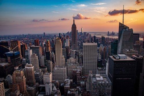 sunset  manhattan  city