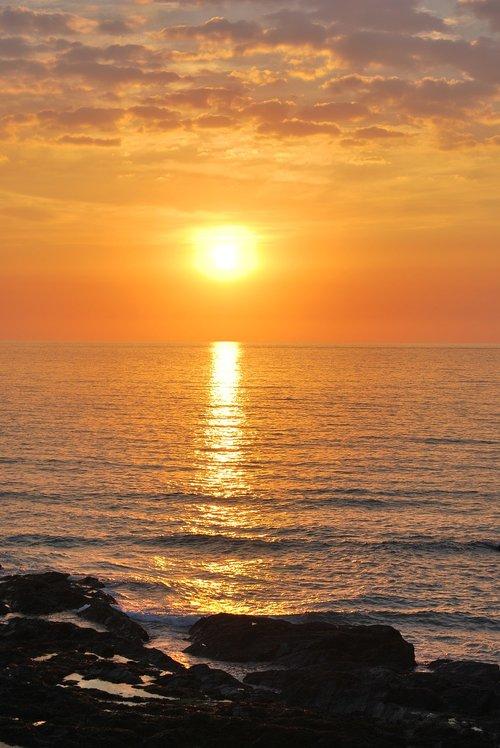 sunset  cornwall  sea