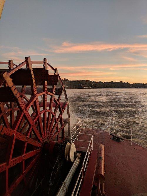 sunset  river cruise  paddle wheel