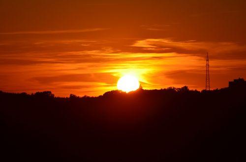saulėlydis,Strommast,jėgos linija,švytėjimas,afterglow,romantika,abendstimmung,energija,aukštos įtampos,oranžinė,saulė