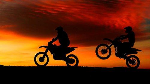 sunset  motorcycles  transport