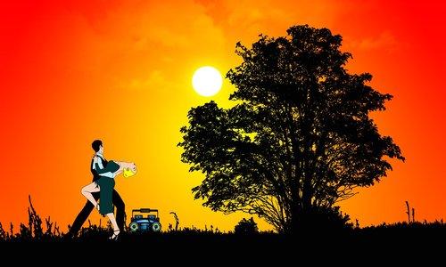 sunset  dance  silhouette