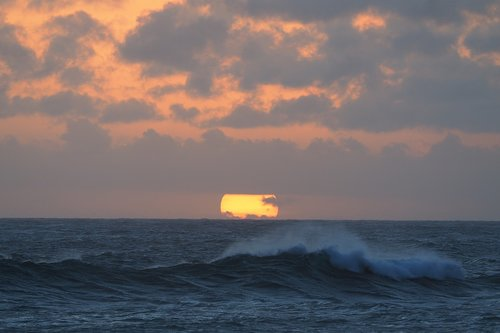 sunset  sea  wave
