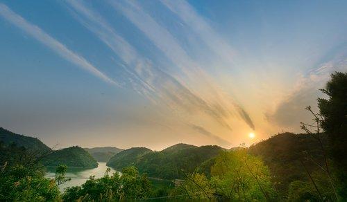 sunset  mountain  cloud