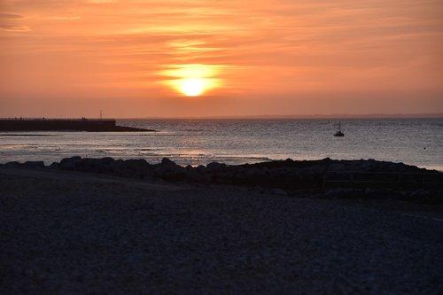 sunset  morecambe bay  crimson skies