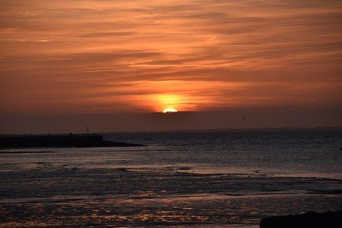 sunset  morecambe beach  turneresque