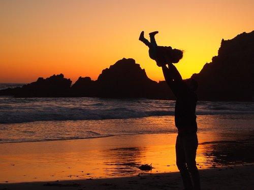 sunset  child  parent
