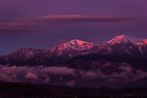 sunset  mountains  snow