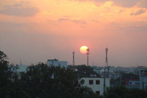 sunset  suburbs  landscape