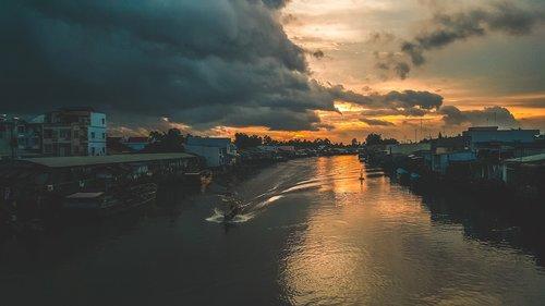 sunset  river  dimensional landscapes