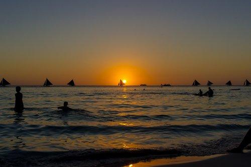 sunset  boracay  peaceful