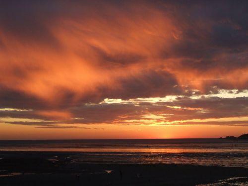 sunset west sea tidal