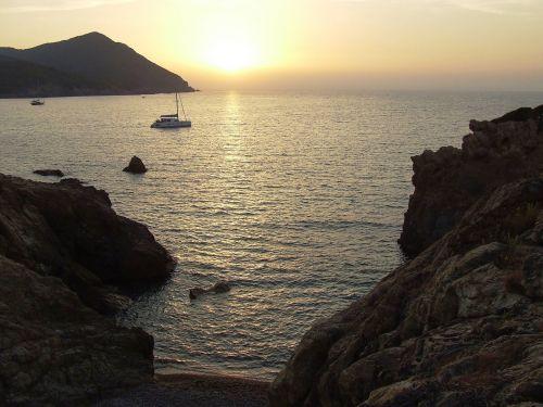 sunset sea corsica