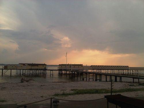 sunset sea horizon
