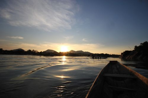 sunset water boat