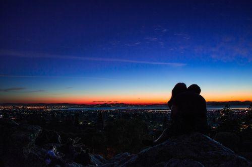 sunset dusk kissing
