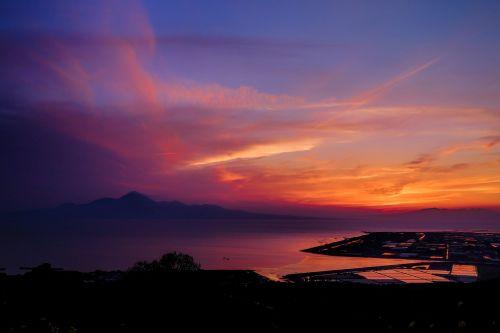 saulėlydis,Japonija,kumamoto,ariake jūra,šviesa,debesis,jūra,gražus,saulė