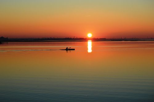 sunset canoe end of day