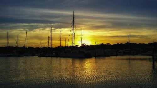 saulėlydis, kraštovaizdis, vandenynas, Cronulla, australia, uostas, valtys, laivai, vakaras, vanduo, kelionė, vaizdingas, sezonas, peizažas, aplinka, oras, debesys, gamta