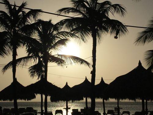 sunset aruba caribbean