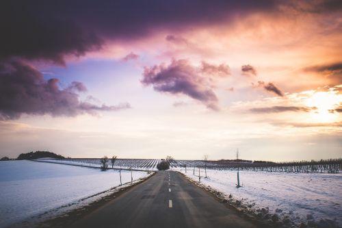 sunset horizon winter