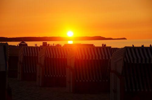 sunset beach baskets sea