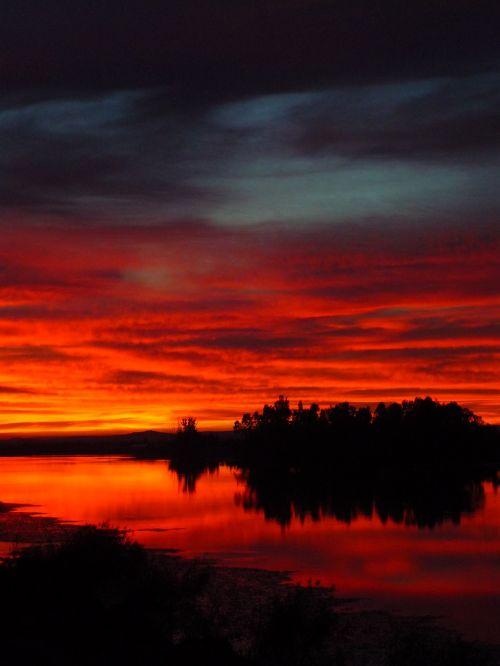sunset orange reflection