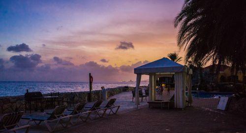 sunset island tropical