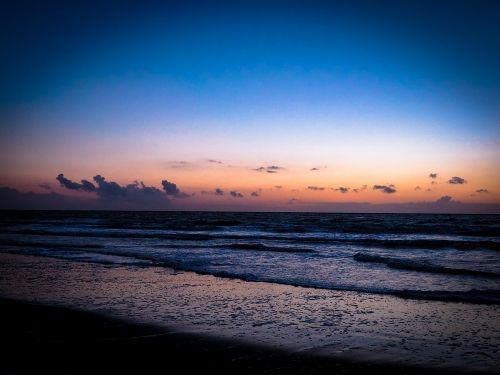 sunset dusk sea