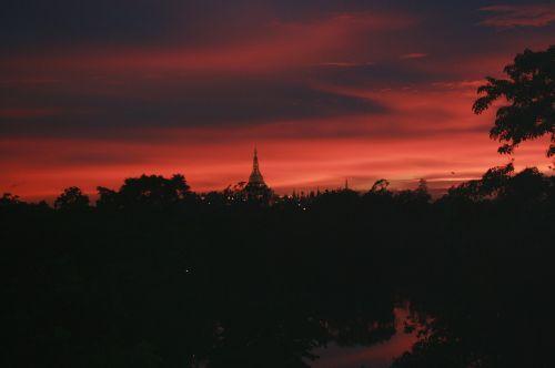 sunset myanmar yangon