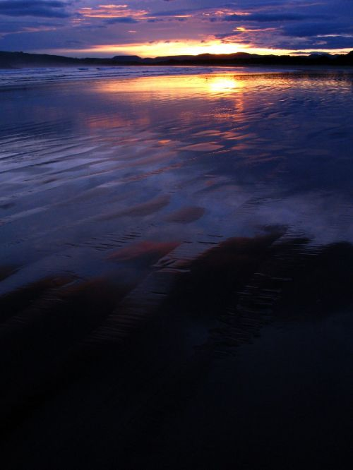 sunset beach purple