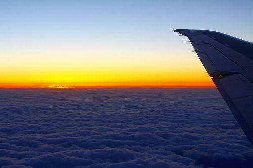 debesys, dangus, peizažas, sparnas, lėktuvas, saulėlydis, saulėlydis virš debesų