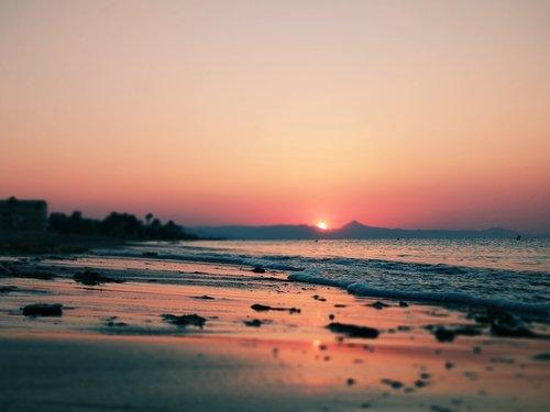 sunset on the beach  sea  beach
