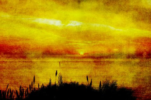 Sunset Painting Vintage