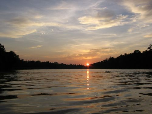 sunsets rivers water