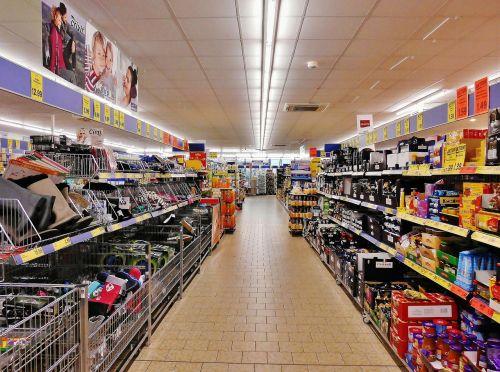 supermarket shelves shopping