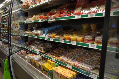 supermarket food shelves