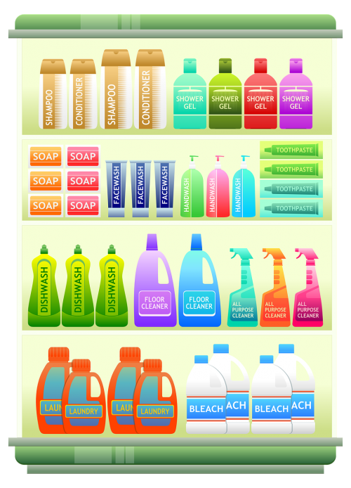 supermarket shelf products shampoo