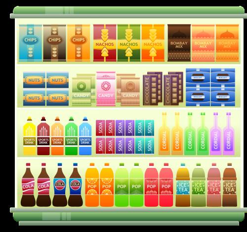 supermarket shelf products snacks