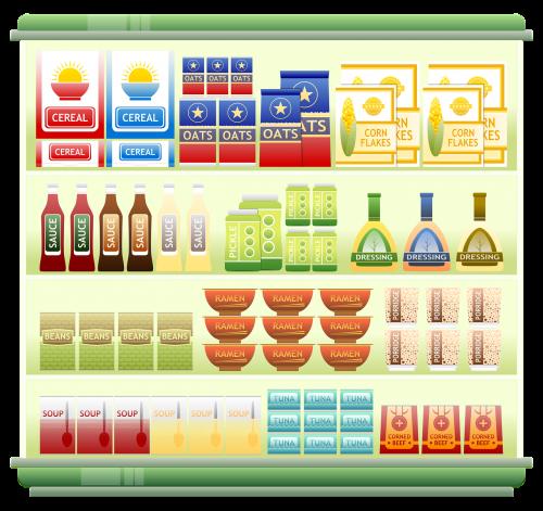 supermarket shelf food cereal