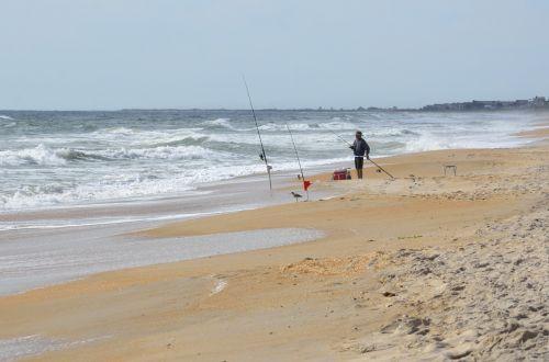 Surf Fisherman On The Beach