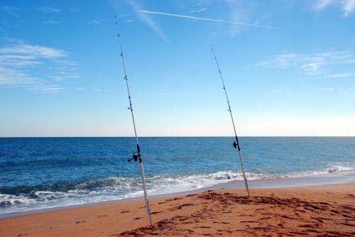 Surf Fishing Poles On The Beach