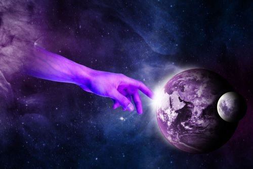 surreal hand planet