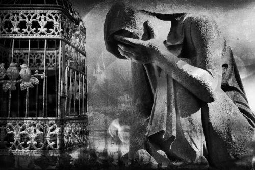 surreal black white grief