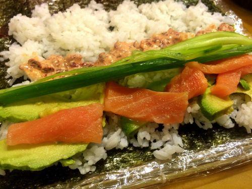 sushi salmon rice