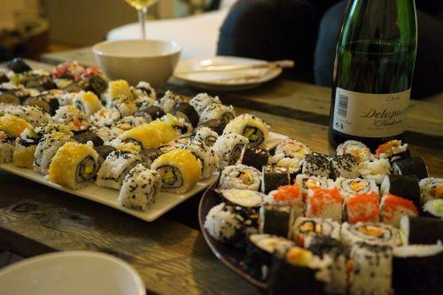 sushi dinner wine
