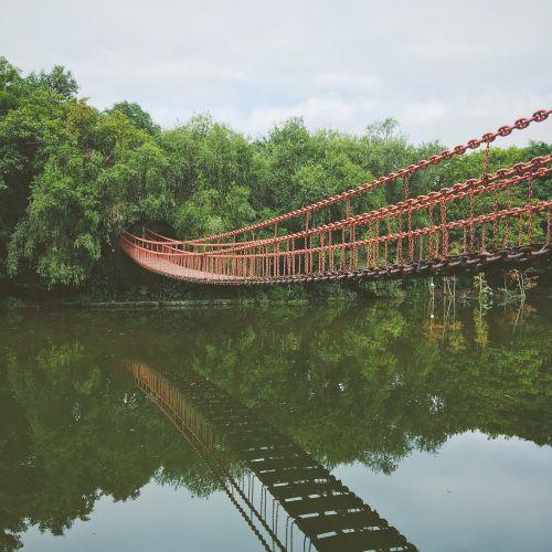 suspension bridge beck reflection