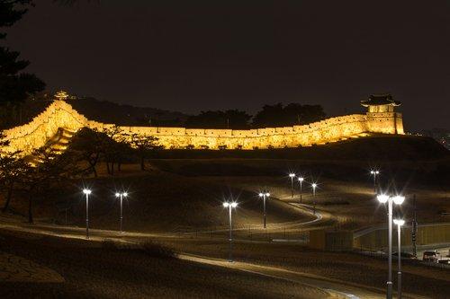 suwon hwaseong  night view  castle