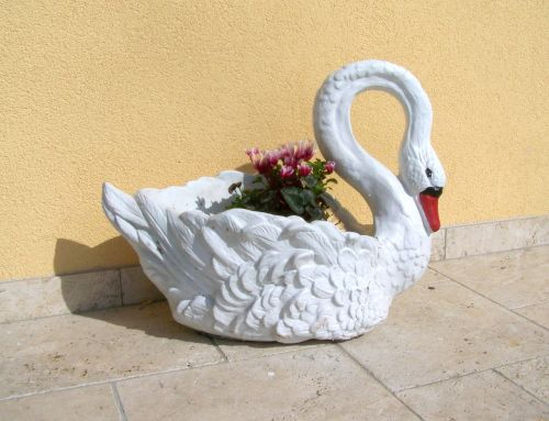 swan garden decor spring flower
