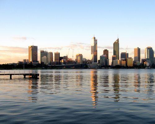 perth, gulbė & nbsp, upė, miestas, panorama, saulėlydis, australia, wa, Vakarinė & nbsp, Australija, atspindys, vanduo, ripples, prieplauka, miestas, gulbių upė perth australia